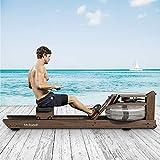 Mr. Rudolf Water Rowing Machine with Bluetooth Monitor, Black Walnut Wood Water Resistance Rower...