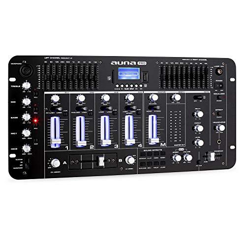 Resident DJ Kemistry 3BK - Mesa de Mezclas , 4 Canales , Equipo de DJ , Bluetooth , USB , SD , MP3 , 2 entradas Phono/línea , Ecualizador de 10 Bandas , Micrófono , Entradas XLR , Talkover , Negro ⭐