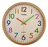 HongLianRiven Reloj de Pared Reloj de Pared de Madera Redondo, Tranquilo, sin garrapatas, Reloj Grande, Reloj, Dormitorio, Dormitorio, Dormitorio, números de Colores, Reloj Decoraciones para el hogar