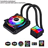 upHere Liquid AIO CPU Cooler 240mm,SYNC RGB Fans,Dual 120mm PWM Fans,Motherboard Control Supported,Intel and AM4 Compatible,CC240RGB