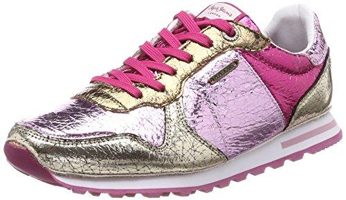 Pepe Jeans London Damen Verona W Cracked Sneaker, Pink (Factory Pink), 36 EU