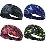 Obacle Headbands for Men Women Sweat Bands Headbands Non Slip Thin Lightweight Breatheable Head Band Outdoor Sports Workout Yoga Gym Running Jogging (Elastic Band, 4 Pack Black-Gray Blue Red Green)