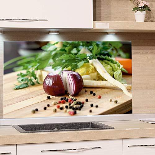 GrazDesign keukenachterwand glazen afbeelding spatbescherming fornuis edele kunstdruk achter glas afbeelding motief uien met kruiden eyecatcher voor thuis 60x40cm