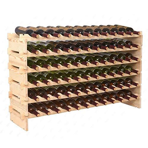 HomGarden 6 Tier Stackable Wine Display Rack Modular Free Standing Bottles Storage Stand Wooden Wine Holder Display Shelves Natural Wood Wobble-Free(6x12 Row 72 Bottles)