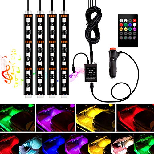 Interior Car Lights, YANF Car LED Strip Lights 4pcs 36 LED Under Dash Lighting Kit Multicolor Music Car Strip Light with Sound Sensor and Wireless Remote Control, DC 12V