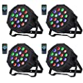 Nurxiovo DJ Lights 4 in 1 Upligting 18 LEDs RGB Sound Activated Stage Par Lights with Remote Control Compatible with DMX, 9 Modes LED Up Lights for Clubs Churches Concerts Party Wedding