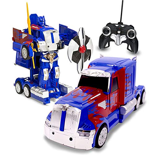 RC Toy Transforming Robot Remote Control (27 MHz) Truck with One Button Transformation, Realistic Engine Sounds and 360 Speed Drifting 1:14 Scale (Blue)