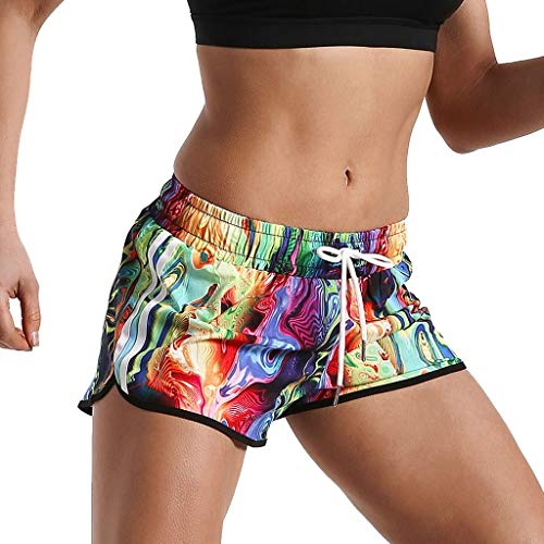 UFODB Schwimmhose Damen Kurz Women Sexy Sommer Neu Printing Badeshorts Badehose Kurze Bunt Kante Bikinihose Bademode Shorts Sporthose Yogahose Fitnesshose