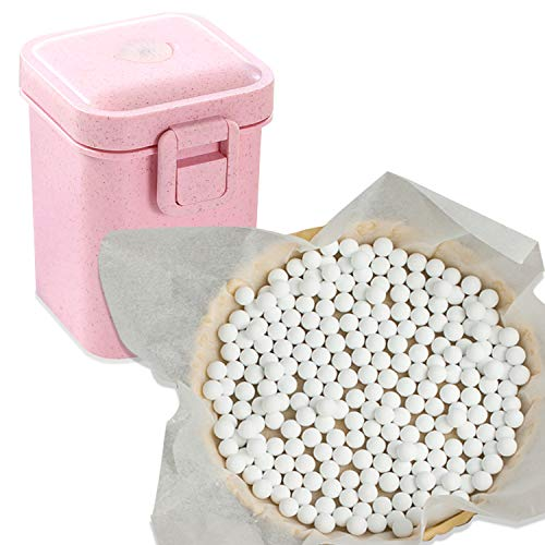 2.2Lb Ceramic Pie Weights Baking Beans Pie Crust Reusable 10mm Weights Natural Ceramic Stoneware with Wheat Straw Container (35 Oz Total) (Pink)
