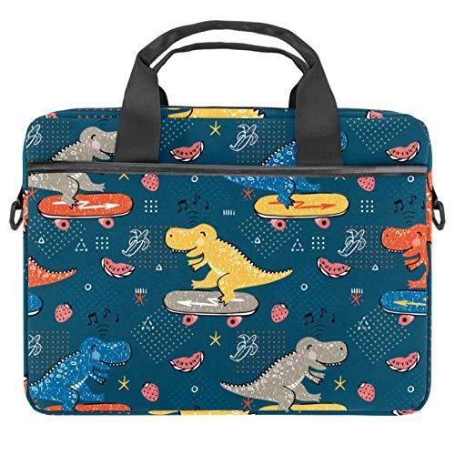 Bolsa de hombro para portátil con bolsillos de almacenamiento de accesorios (13.4-14.5 pulgadas), divertido dinosaurio con música de monopatín
