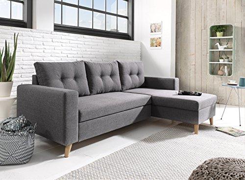 Bestmobilier - Nordic - Canapé scandinave d'angle réversible Convertible - Gris foncé