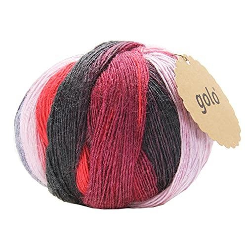 golo Wool Yarn for Hand Knitting 3.5oz Wool Yarn for Crocheting Cashmere Multicolor Rainbow Wool Yarn (5-017, 550yd)