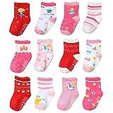 Yafane 12 Pares de Calcetines Antideslizantes para Niños Pequeños Infantil Recién Nacido Calcetines Antideslizantes Algodón para Bebés 0-7 años (Rojo, 1-3 años)