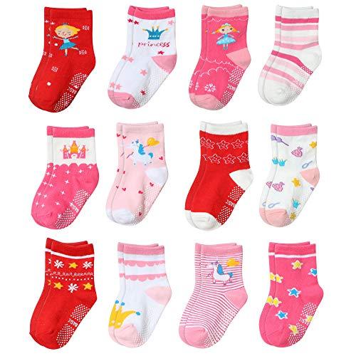 Yafane 12 Pares de Calcetines Antideslizantes para Niños Pequeños Infantil Recién Nacido Calcetines Antideslizantes Algodón para Bebés 0-7 años (Rojo, 3-5 años)