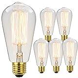 YANUODA Edison Bulb ST64 60W Squirrel Cage Filament Decorative Light Bulb Medium Base E26 110/130V Vintage Light Bulb