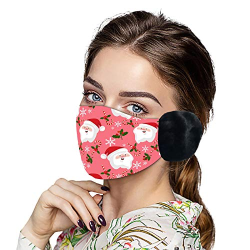 YOYIK Protección facial para adultos Face Covering lavable reutilizable de Navidad protectora antipolvo de muñeco de nieve de Santa Claus