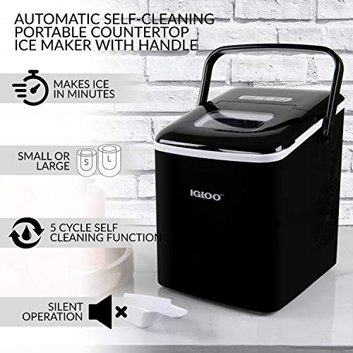 Igloo Iceb26hnbk Automatic Self Cleaning Portable Electric Countertop Ice Maker Machine With Handle 26 Pounds In 24 Hours 9 Ice Cubes Ready In 7 Minutes With Ice Scoop And Basket Black 0082677735232