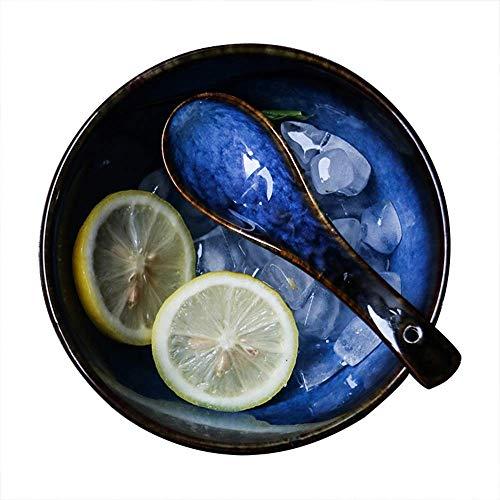JUNYYANG Ensalada de cerámica Creativa Vajilla Retro del Cuenco de Fruta Soup Bowl Bowl-Diámetro 14.3cm, Altura 9 cm