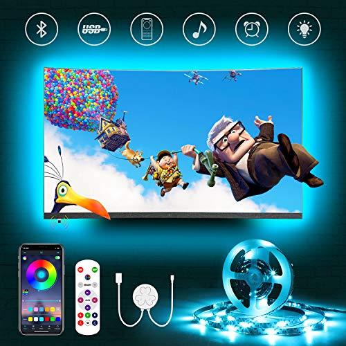Hamlite LED TV Hintergrundbeleuchtung,2.5m USB Bluetooth LED Strip für 32-60 Zoll Fernseher,Sync mit Musik,RGB LED Streifen mit Fernbedienung/App Steuerung,Bias Lighting,für TV/PC Monitor/Spielzimmer