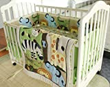 Wowelife Animal Baby Crib Bedding Sets Green 7 Piece Forest Party of Lion, Giraffe,Elephant, Zebra and Crocodile Nursery Bedding(Forest Party)