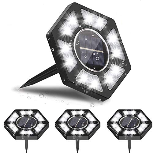 Zenoplige Solarleuchten Garten, 12 LEDs Solarlampen mit IP67 Wasserdicht Bodenleuchte Außenleuchte Gartenleuchten Weißes Licht ist geeignet für Rasen Weg Hof [Energieklasse A+++] (4 Stück)