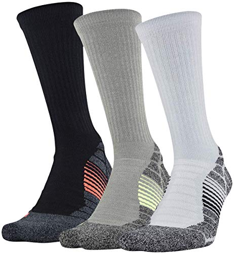 Under Armour Adult Elevated Performance Crew Socks, 3-Pairs , Halo Gray Assorted , Shoe Size: Mens 8-12, Womens 9-12