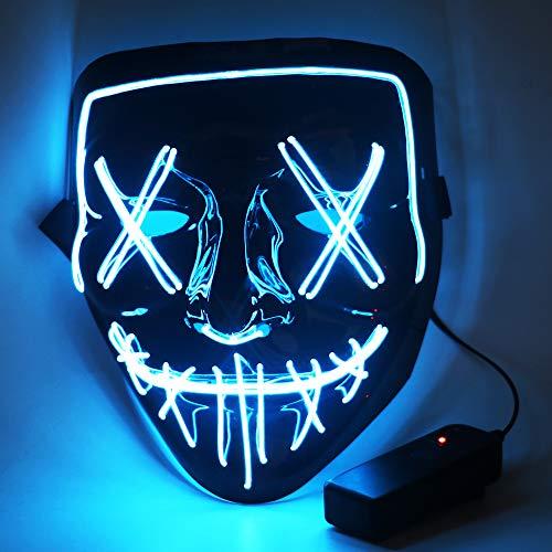 CENOVE Halloween Maske LED Grusel Maske mit 3 Blitzmodi, 3X Lichteffekten LED Purge Maske für Halloween Erwachsene, Männer und Frauen (Blau)