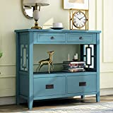 FLing Retro Console Table with Drawer Sofa Table Narrow Console Table for Entryway, Living Room, Entry Table with Open Shelf and 4 Drawers, Blue