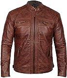 Chaqueta de cuero para motocicleta Cafe Racer estilo vintage, color marrón
