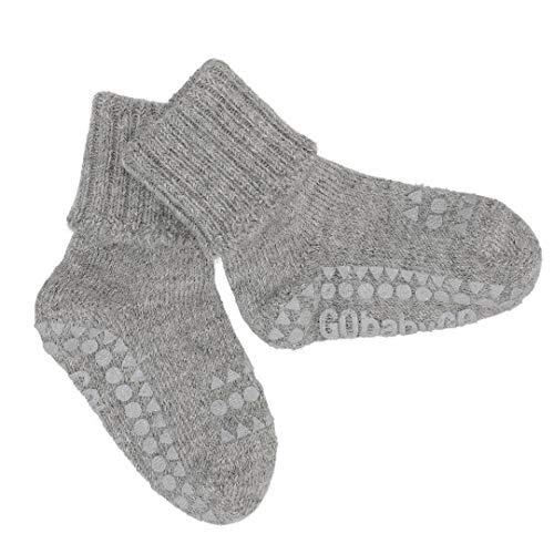 GoBabyGo Original Rutschfeste Baby Krabbel Socken | ABS Non-slip Unterstützung Für Aktive Kinder Im Krabbelalter | Warm Alpaka Wolle | 1-2J (20-22cm) | Grey Melange