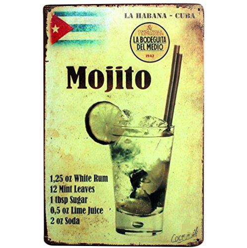 iTemer Panneau en fer style rétro avec motif de jus de mojito pour maison, bureau, bar, café
