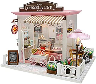 SODIAL Doll House Miniature DIY Dollhouse with Furnitures Wooden Sweet Chocolate House Waiting Time Toys for Children Birthday Gift C007,Without Dust Cover