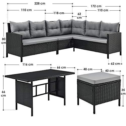 ArtLife Polyrattan Lounge Manacor | Gartenmöbel Set mit Sofa, Tisch & 2 Hockern | Bezüge grau | Sitzgruppe für Garten, Terrasse & Balkon - 2