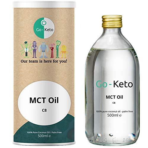 Go-Keto MCT Öl, 500ml | Premium MCT ÖL C8, 100% Kokosöl palmölfrei | perfekt für die Keto Diät | idealer Keto Kaffee Creamer für Bulletproof Coffee oder Keto Shake | Paläo, vegan, Low Carb