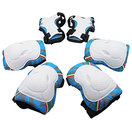 Knee Pads for Kids, Protective Gear Set Knee Pads Elbow Pads Wrist Guards 3 in 1 for Skateboarding Inline Roller Skating Cycling Biking BMX Ski Scooter (Blue)