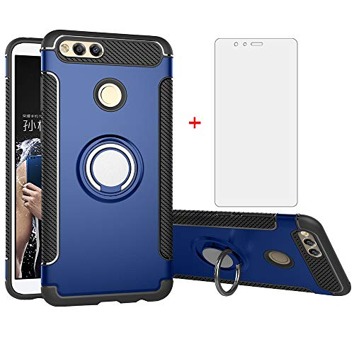 Phone Case for Huawei Honor 7X with Tempered Glass Screen Protector Cover and Magnetic Stand Ring Holder Slim Hybrid Hard Rugged Cell Accessories Kickstand Protective Huwai Honor7X X7 Cases Men Blue