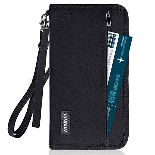 JUNDUN Reisepass Tasche Familien Reisepassorganizer RFID Blocking Reisepasshülle wasserdichte für Kreditkarten Ausweis Reisedokumente für Damen und Herren