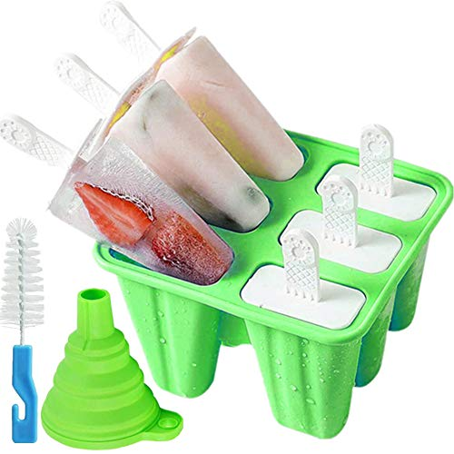 Popsicle Molds 6 Pieces Silicone Ice Pop Models Popsicle Models Reusable Easy Release Ice Pop Maker Dark Green