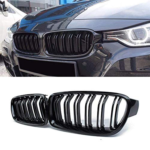 Gloss Black Double Slats ABS Grille, 2-pc Set 2015+ 2014+ F82 F83 M4 F80 M3 SNA M Color Front Kidney Grill for BMW 4 Series F32 F33 F36