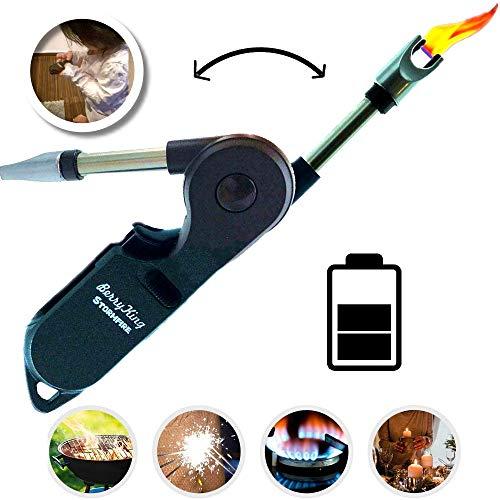Stormfire USB Plasma Flamlos Feuerzeug mit Kindersicherung Lichtbogen elektrisch aufladbar für Kerzen Kamin Anzünder Grillen Camping Outdoor elektrischer Strom Sturmfeuerzeug Stabfeuerzeug (Schwarz)