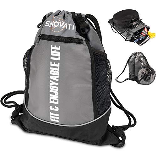 SINOVATI Sportrucksack wasserdichte Gym Bag mit Tunnelzug | Sporttasche mit Netzfächern | Fitnesstasche | Multifunktionaler Rucksack | Sportbeutel Herren und Damen