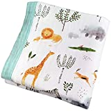 Muslin Toddler Blanket Jungle Print Cotton Blanket for Toddler Boy Girl Oversized 47x47 inches - 2 Layer Lightweight and Breathable Stroller Blanket