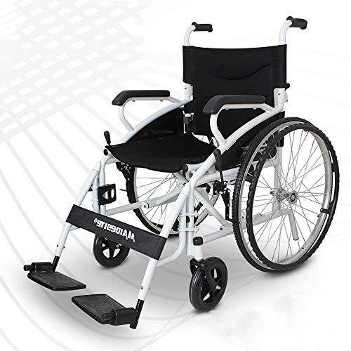 CHHD Leichter und benutzerfreundlicher Rollstuhl mit Klapprücken, Armen und Hebebühnen für zusätzlichen Komfort, Schwarz, NO1