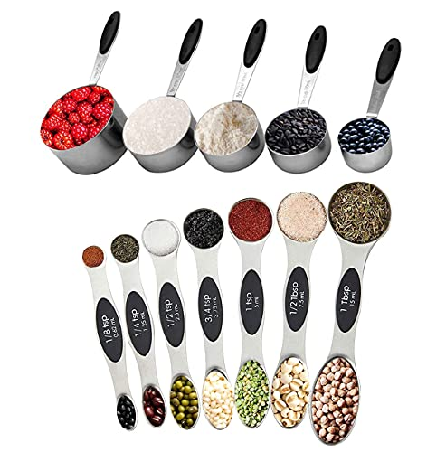 Measuring Cups and Magnetic Measuring Spoons Set, Stainless Steel 12 Piece Set, 5 Measuring Cups & 7...