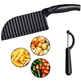 2 Piece Crinkle Potato Cutter and Swivel Peeler with Protective Cover Stainless Steel Blade Wavy Vegetable Slicer for French Fries Chopper Salad Cutting Tool Home Kitchen Chopping Knife