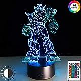 KangYD Robot d'action d'anime de lumière de nuit 3D, lampe d'illusion optique de LED, E - Base de Réveil (7 couleurs), Cadeau pour un ami, Changement coloré, Alimenté par USB