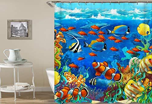 Azul mundo submarino delfín amarillo naranja azul blanco pequeño grupo de peces coral algas de ducha cortina baño decoración impermeable tela