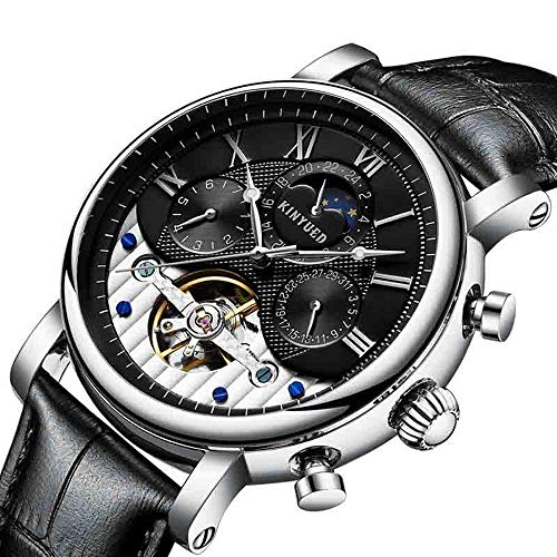 TXGIRWAO de Cuerda automática de Regalo del día de Impermeable para Hombre del Reloj de Tourbillon mecánico automático de Cuero de los Relojes San Valentín esquelética (Silver Black)