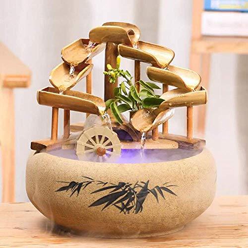 Accents de Bambou Fontaine à Bascule Japonaise Traditionnelle, Fontaine d'eau extérieure pour la décoration de la Cour de Jardin