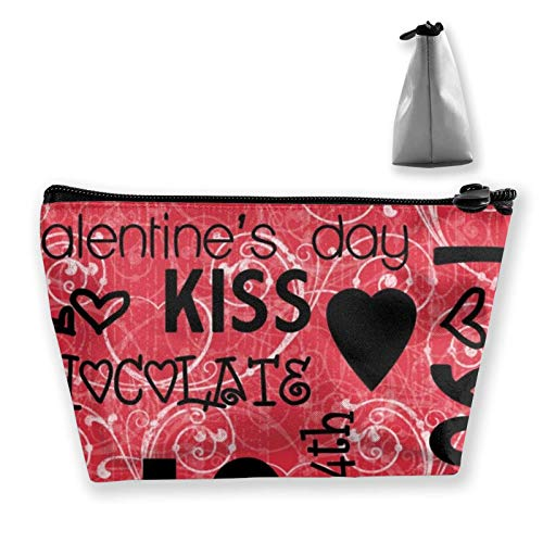 Hipiyoled Bolsa de maquillaje con forma de corazón para mujeres y niñas, diseño de corazón con graffiti para maquillaje, brochas de joyería, viaje de gran capacidad